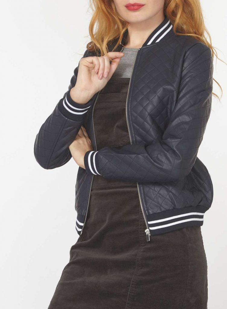 Stripe Rib Faux Leather Bomber Jacket