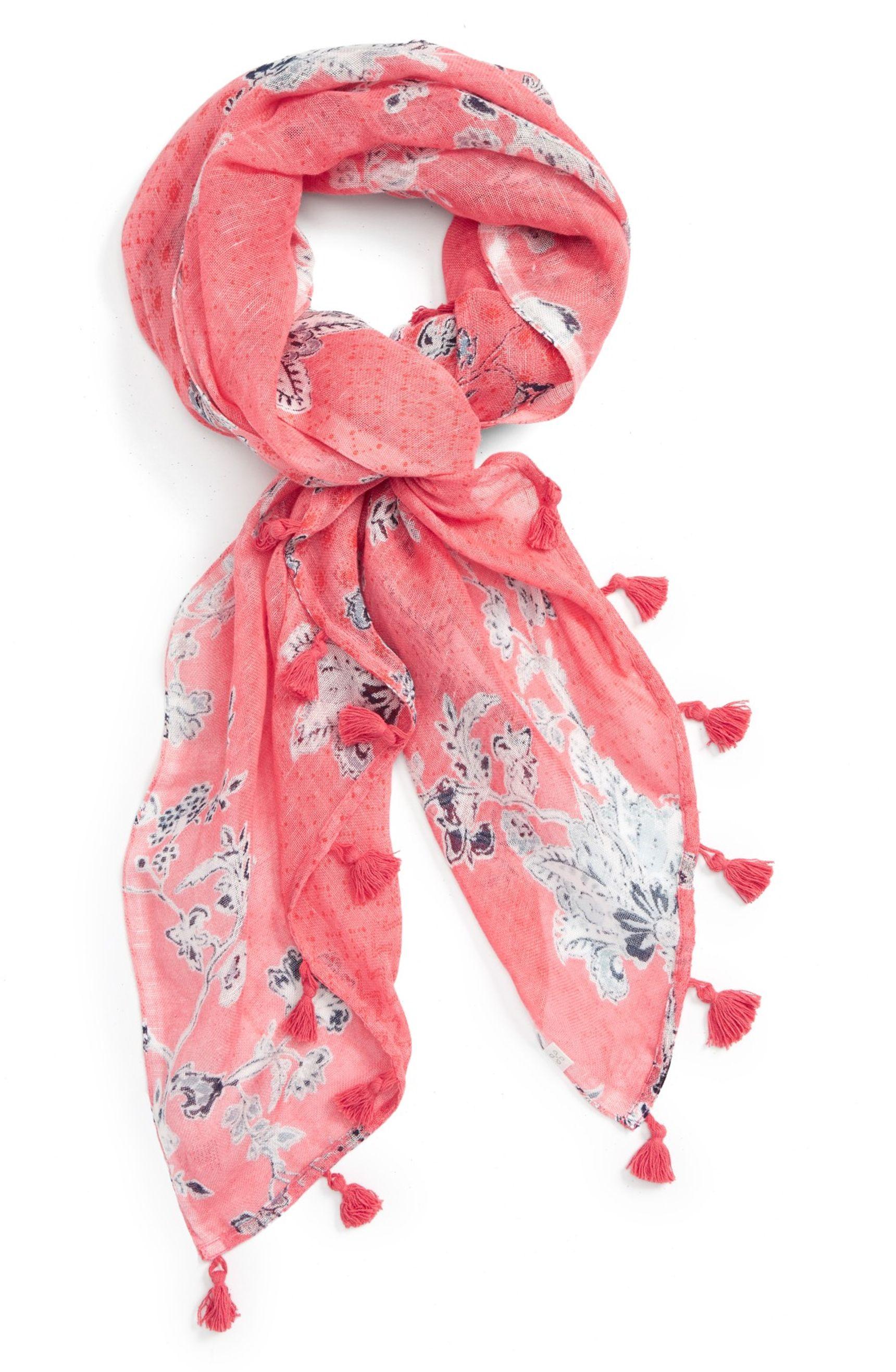 Caslon® Floral Tides Tassel Scarf