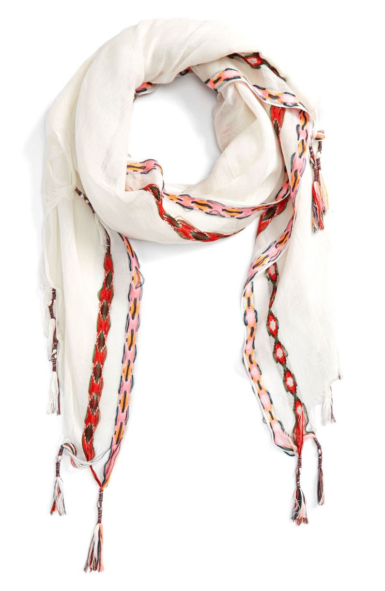 Shiraleah Arabella Embroidered Tassel Scarf