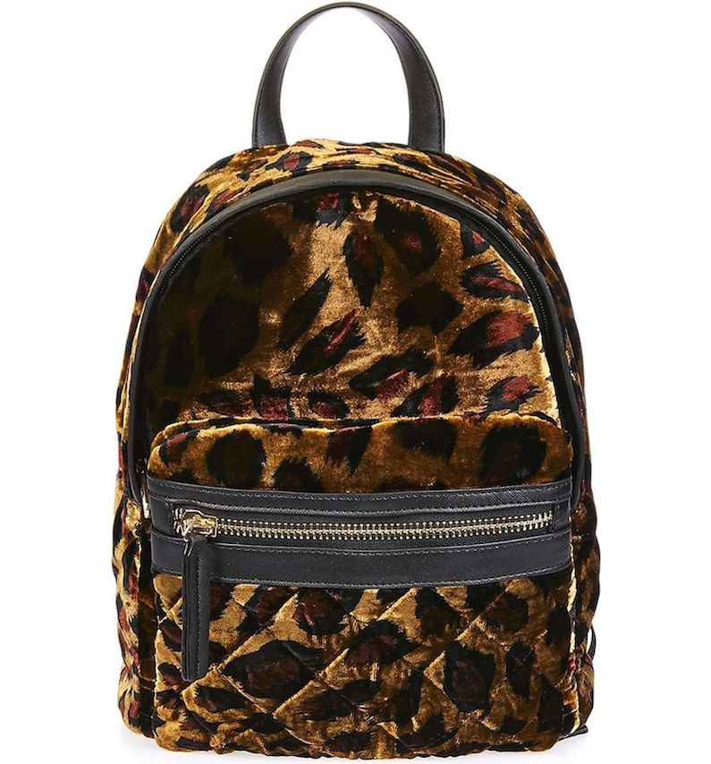 opshop Bobby Mini Leopard Velvet Backpack